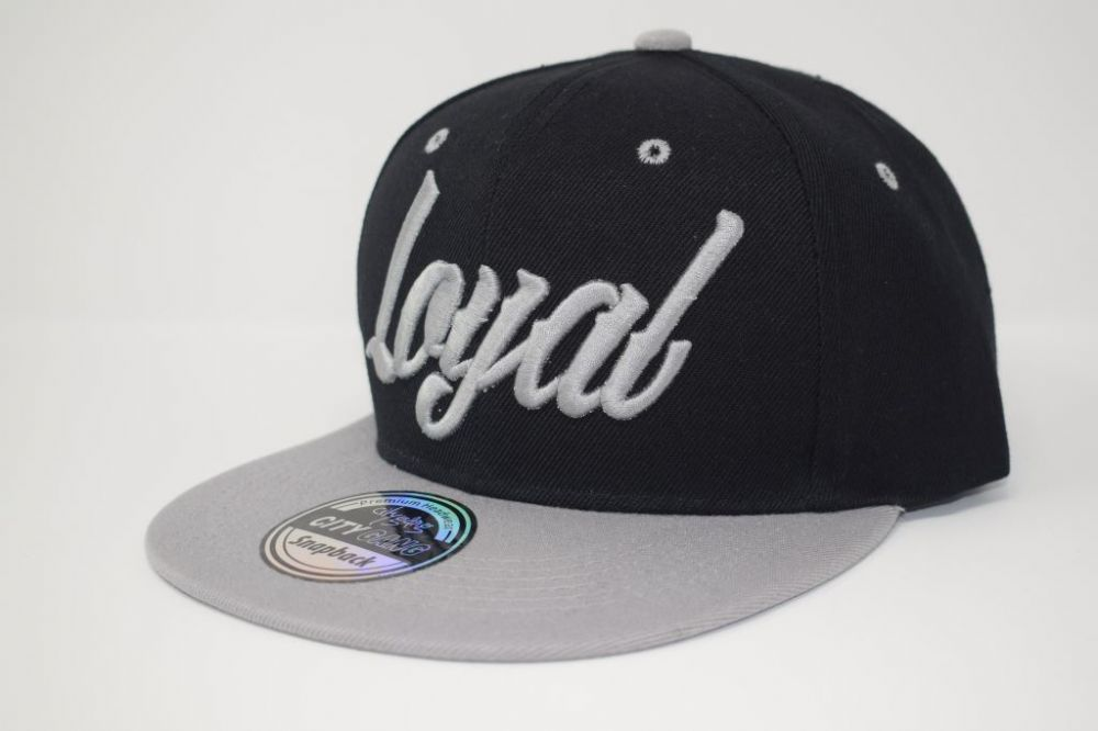 C4879-'Loyal' Black/Gray  Snapback caps, one size fits all adjustable